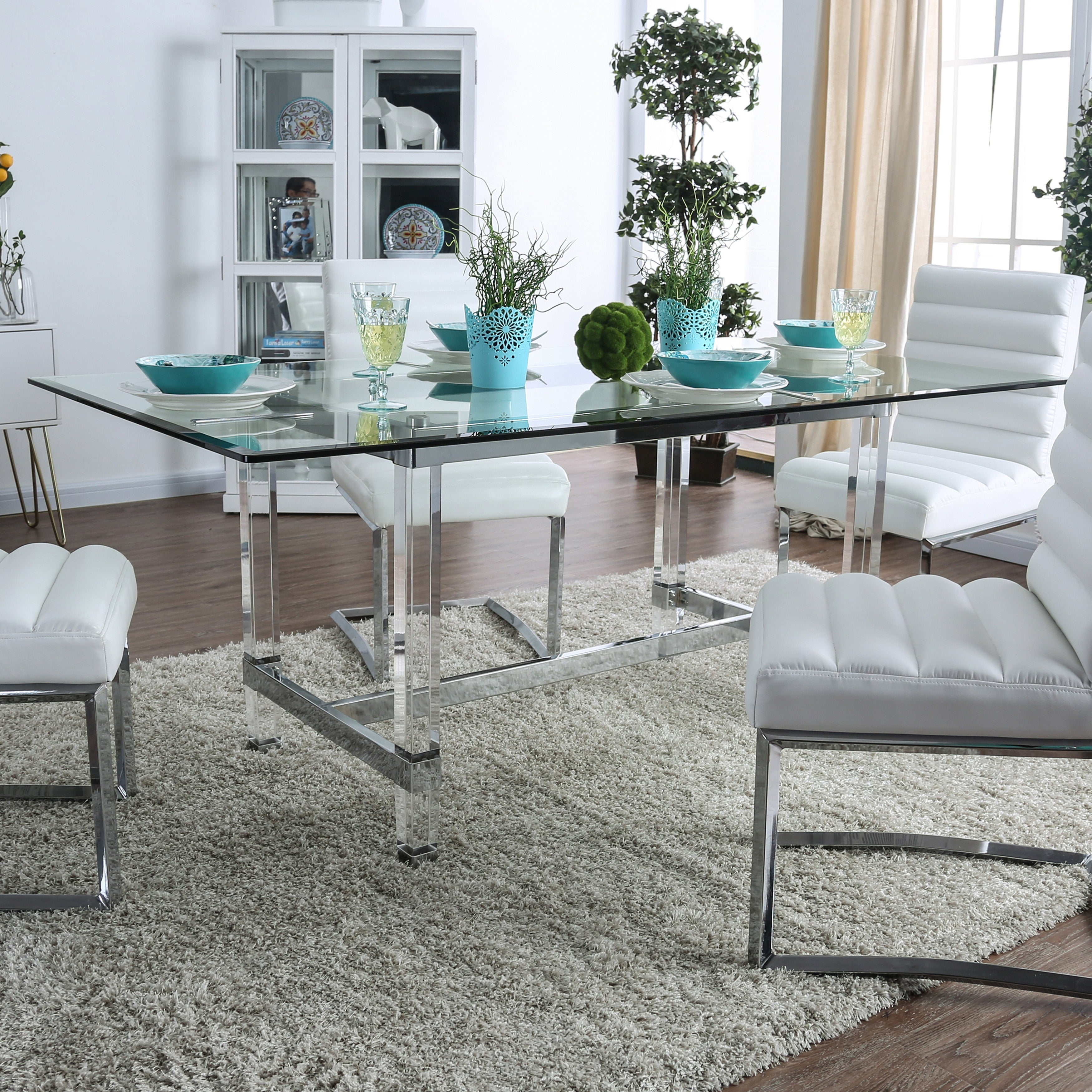 Silver Orchid Falconetti Acrylic And Glass Dining Table Overstock 23570115