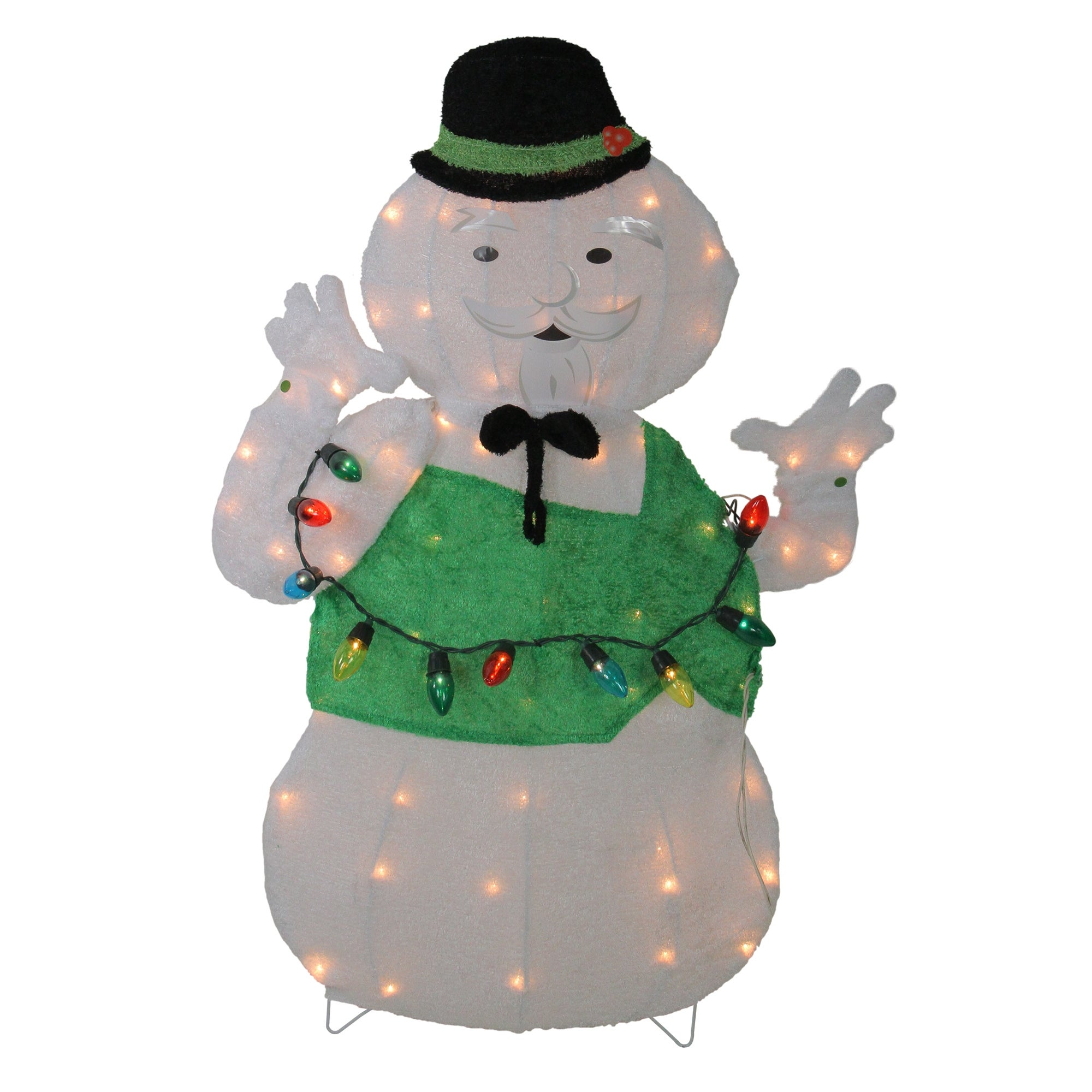 "33"" Lighted White and Green ""Sam the Snowman Christmas Outdoor Decor"