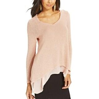 Bar III Long Sleeve Knit Overlay Layered Sweater Tunic - xL