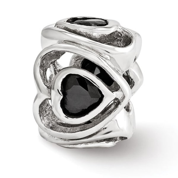 Italian Sterling Silver Reflections Black CZ Heart Bead (4mm Diameter Hole)
