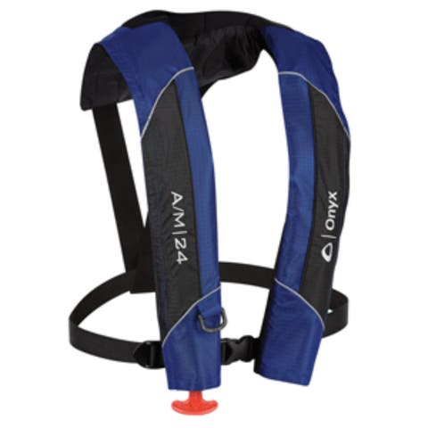 "18"" Royal Blue and Black A-24 Automatic/Manual Inflatable Life Vest"