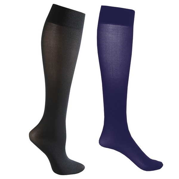 Mild Support 2 Pair Knee High Trouser Socks with 8-15 mmHg Compression - Navy/Black - Medium