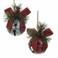 Pack of 6 Dark Red and Silver Finished Decorative Bell Ornaments 5.3""