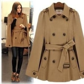 Link to Women Wool Cape Coat Double Breasted Warm Coat Similar Items in Women's Outerwear