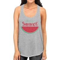 Hello Summer Watermelon Womens Grey Graphic Tank Top For Summer