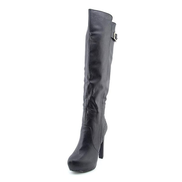 Material Girl Tina Women Pointed Toe Synthetic Black Knee High Boot
