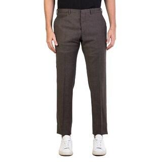 Prada Men's Virgin Wool Twill Slim Fit Trouser Pants Olive Brown