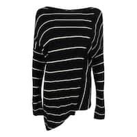 INC International Concepts Women's Striped Wool Blend Sweater - Deep Black
