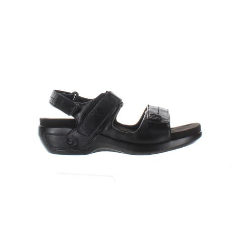 Aravon Womens Katy Black Leather Sandals Size 5 (Wide)