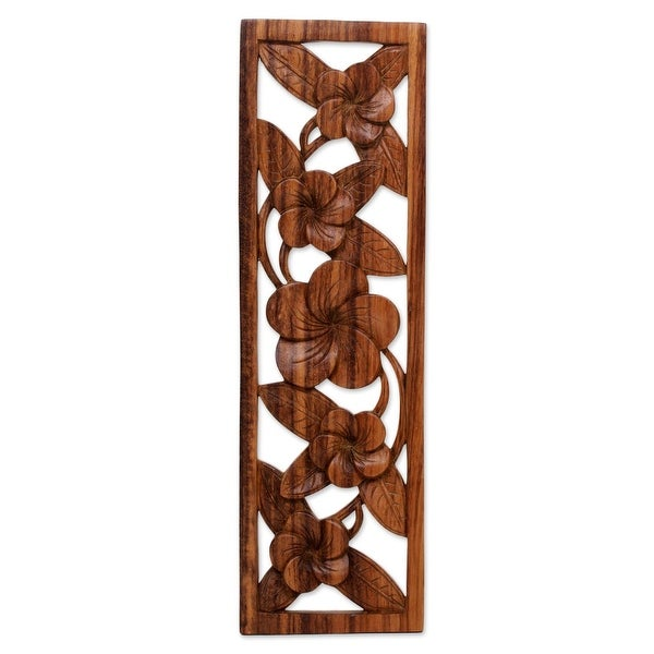 """Handmade Jepun Wall Wood Relief Panel (Indonesia) - 19"""" H x 6"""" W x 0.9"""" D. Opens flyout."""
