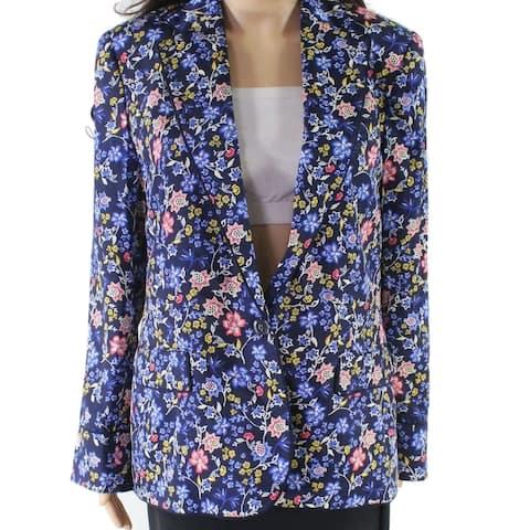 Lauren by Ralph Lauren Women Blue Size 4 Floral-Print One-Button Blazer