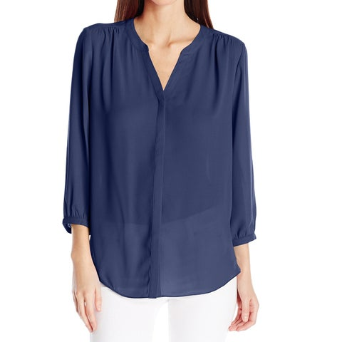 NYDJ Navy Blue Womens Size Medium M Button Down 3/4 Sleeve Blouse
