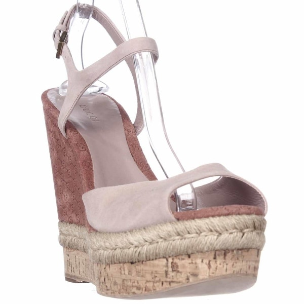 06f035182 Gucci C2000 Cork Espadrille Wedge Platform Ankle Strap Sandals, Dark Cipria  - 11 US /