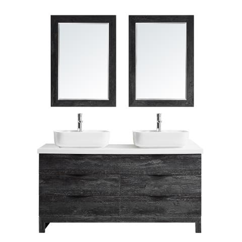 "Spencer 60"" Double Vanity in Suede Elegant Grey with Fine White Quartz Stone with Mirror"