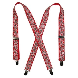 CTM® Kids' Elastic Clip-End 1 Inch Christmas Candy Cane Suspenders - One Size