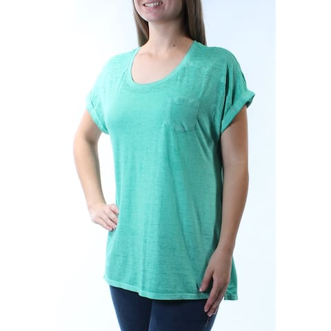 STYLE & CO Womens Green Short Sleeve Scoop Neck T-Shirt Top Size: M