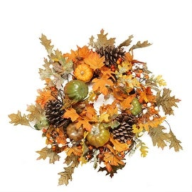 "24"" Autumn Harvest Decorative Artificial Fall Leaves Pinecones Pumpkins and Berries Wreath - Unlit"