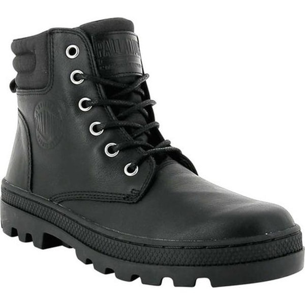 Palladium Women  x27 s Pallabosse HI Cuff Leather Boot Black Black Leather 1e0f7f9bd