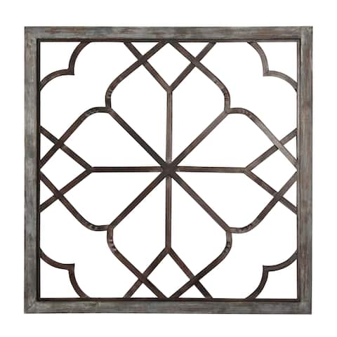 """Aspire Home Accents 5452 Belden 36"""" Wide Metal Wall Sculpture with Wood Frame"""