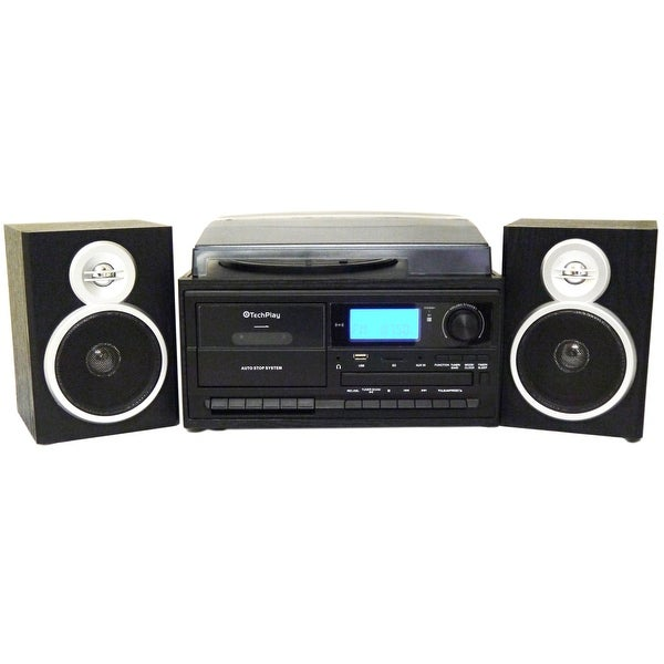 TechPlay ODC128BT Black 3-Speed Turntable with Cassette player/r