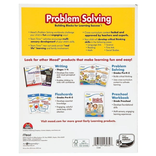 Mead 3rd Grade Problem Solving Workbook, 10 x 8-Inches, 96 Pages (48032)
