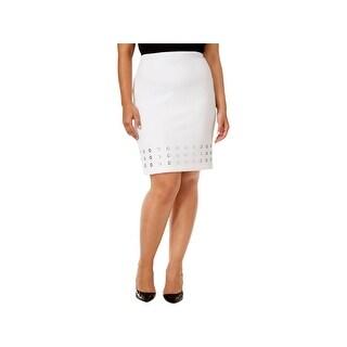 Calvin Klein Womens Plus Pencil Skirt Grommet Knit