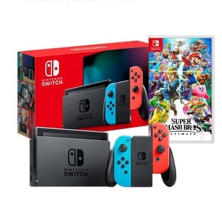 Link to 2019 New Nintendo Switch Red/Blue Joy-Con Improved Battery Life Console Bundle with Super Smash Bros. Ultimate Similar Items in Cell Phone Accessories