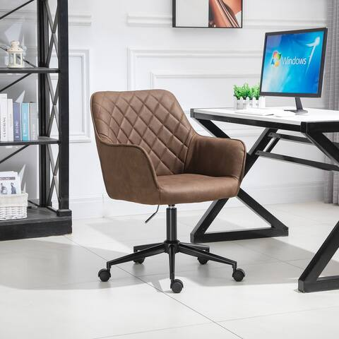 Vinsetto Office Chair with Adjustable Height, Microfiber Cloth, Diamond Line Design, and Mid-Back Padded Armrests