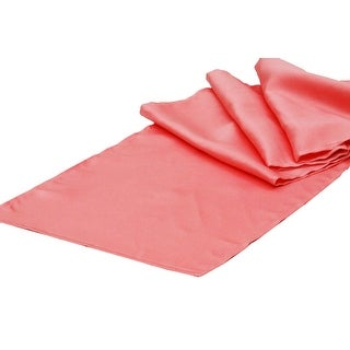 """Lamour Satin Table Runner Approx. 14""""x108"""" 100% Polyester - Coral"""