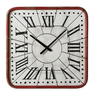 """20"""" Off White and Red Distressed Finish Square Cage Roman Numerals Wall Clock"""
