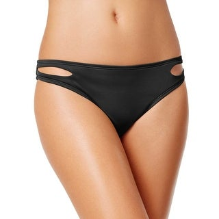 Bar III Womens Cutout Hipster Bikini Bottom Black Solid Medium M