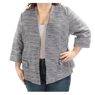 ALFANI $99 Womens New 1443 Blue White Tweed Open Front Jacket 20W Plus B+B