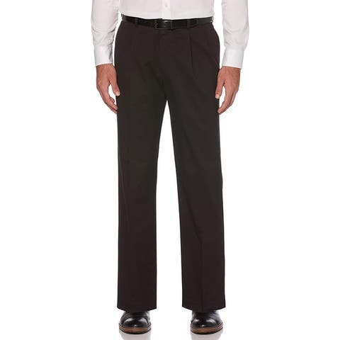 Savane Mens Chino Pants Black Size 42x32 Pleat-Front Performance Stretch