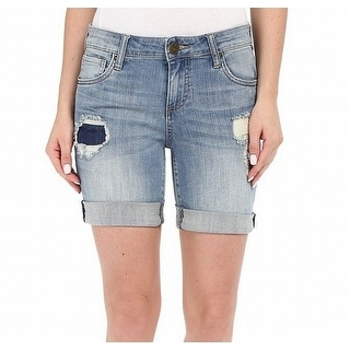 Kut From The Kloth NEW Blue Women's Size 8 Distressed Denim Shorts