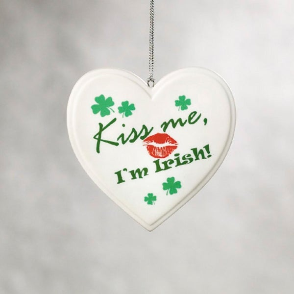 """Kiss Me I'm Irish"" Shamrock Heart Christmas Ornament"