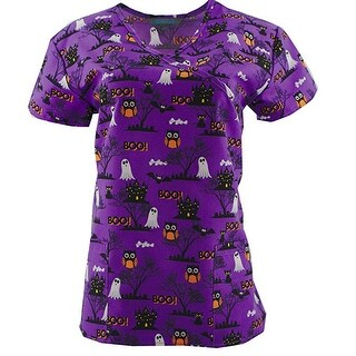 Halloween Print Scrub Top Medical Uniform V-Neck Nurses Top
