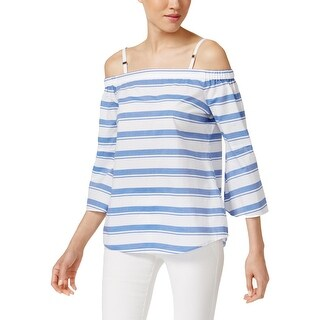 Calvin Klein Womens Casual Top Striped Flounce Sleeves