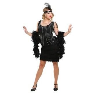 Black Fringe 1920's Flapper Costume - L