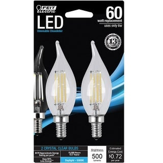 Feit Electric BPCFC60850LED2 Chandelier Flame Tip LED Light Bulb, 6 Watts, Clear