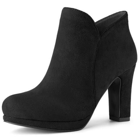 Women's Round Toe Chunky Heeled Ankle Heel Boots