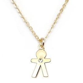 "Julieta Jewelry CZ Boy Gold Charm 16"" Necklace"