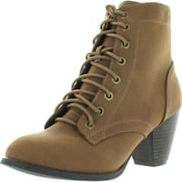 Top Moda Women's Scan-4 Cuban Heel Mid-Height Lace Up Ankle Boot