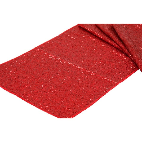 """Glitz Sequin Table Runner Sequin all over on Taffeta base Approx. 12""""x108"""" - Red, 1 Piece"""