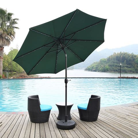 Outdoor 9 FT Patio Umbrella Sun Shade Offset with Solar LED Light, Tilt and Crank