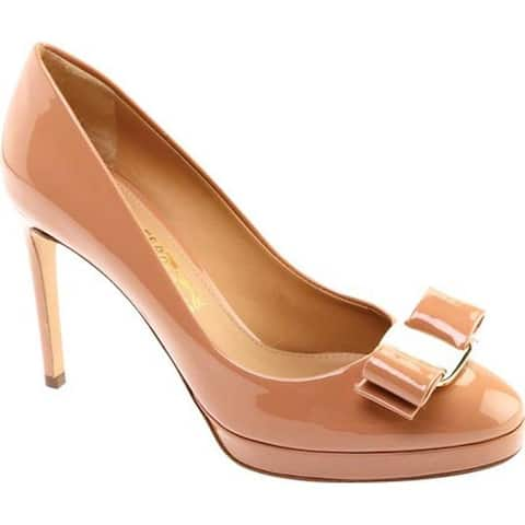 Salvatore Ferragamo Women's Osimo Bow Pump New Blush Patent Leather