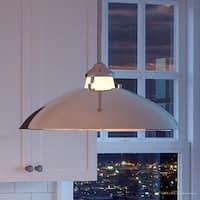 """Luxury Americana Pendant Light, 8""""H x 20""""W, with Mid-Century Modern Style, Polished Nickel Finish by Urban Ambiance"""