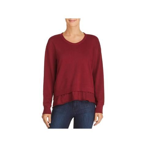 Wilt Womens Sweatshirt, Crew Layered Hem Long Sleeve