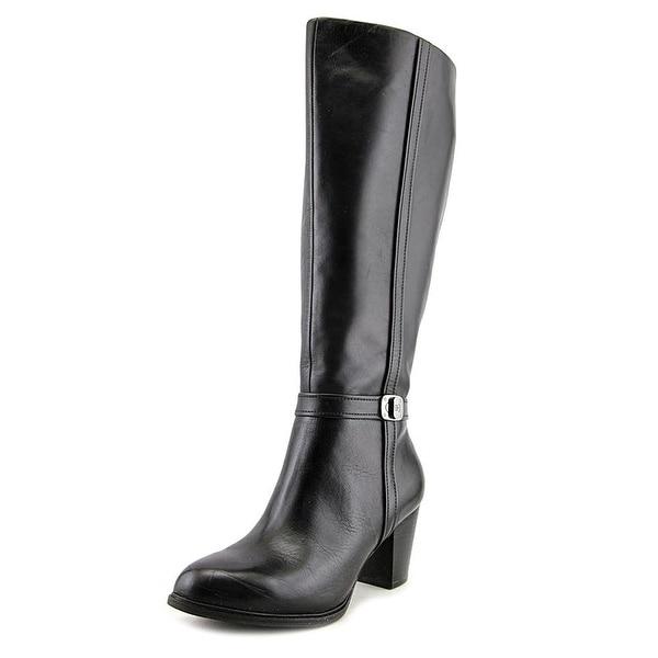 Giani Bernini Womens Raiven Wide Calf Leather Closed Toe Knee High Fashion Bo...