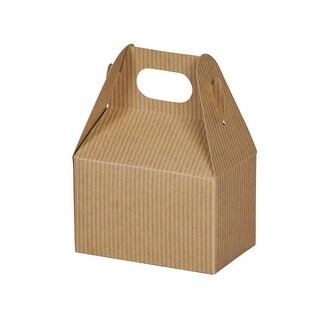 """Pack Of 6, Kraft Pinstripe Mini Gable Boxes 4 x 2.5 x 2.5"""" Perfect For Candy & Favor Boxes, Gift Basket Fillers & Small Gift"""
