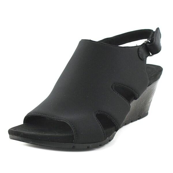 Bandolino Gale Dale Women Open Toe Canvas Black Wedge Sandal